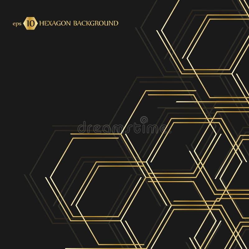 Fondo geométrico hexagonal Conexión del vector con las líneas y la red social Presentación del negocio para su diseño ilustración del vector