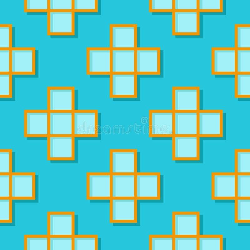 Fondo geométrico inconsútil con los elementos cuadrados Modelo azul y anaranjado 3d stock de ilustración