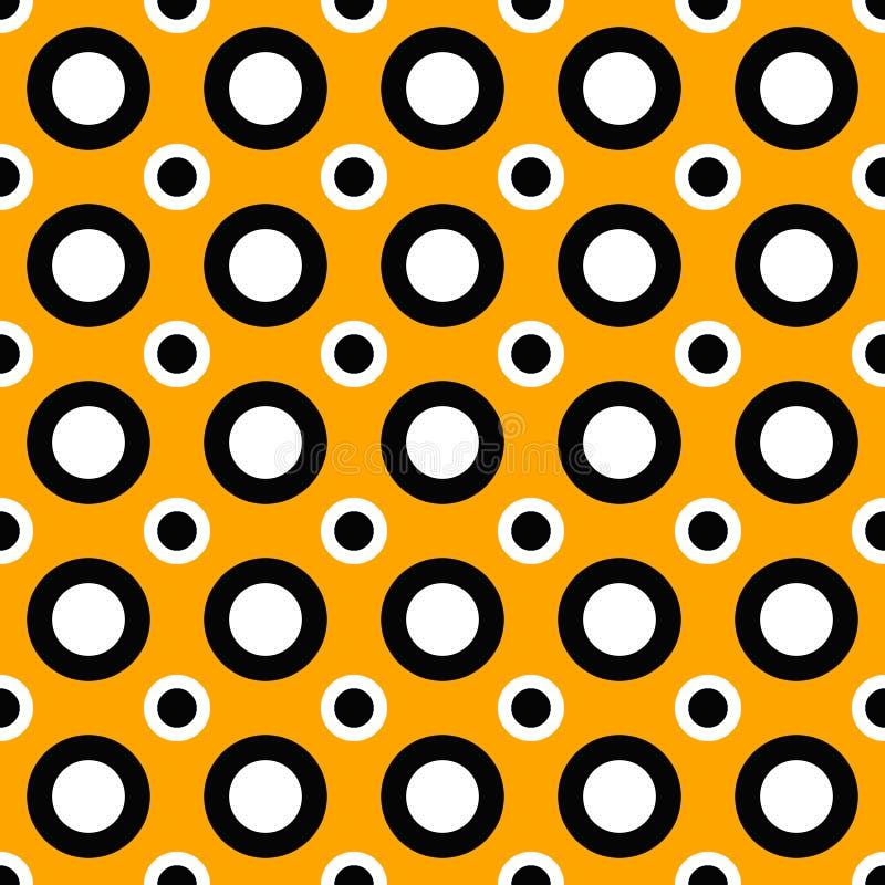 Fondo geométrico inconsútil del modelo del círculo en la naranja, blanco y negro libre illustration