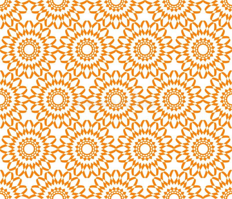 Fondo geométrico inconsútil del vector del estampado de flores con la naranja retra del arte del diseño del vintage colorido del  libre illustration