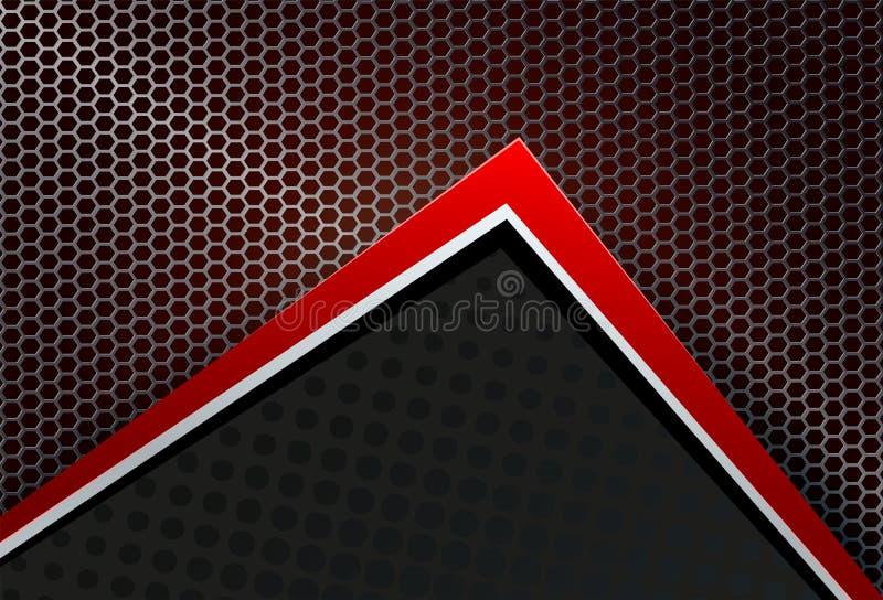 Fondo geométrico, malla, parrilla del metal con la esquina roja stock de ilustración