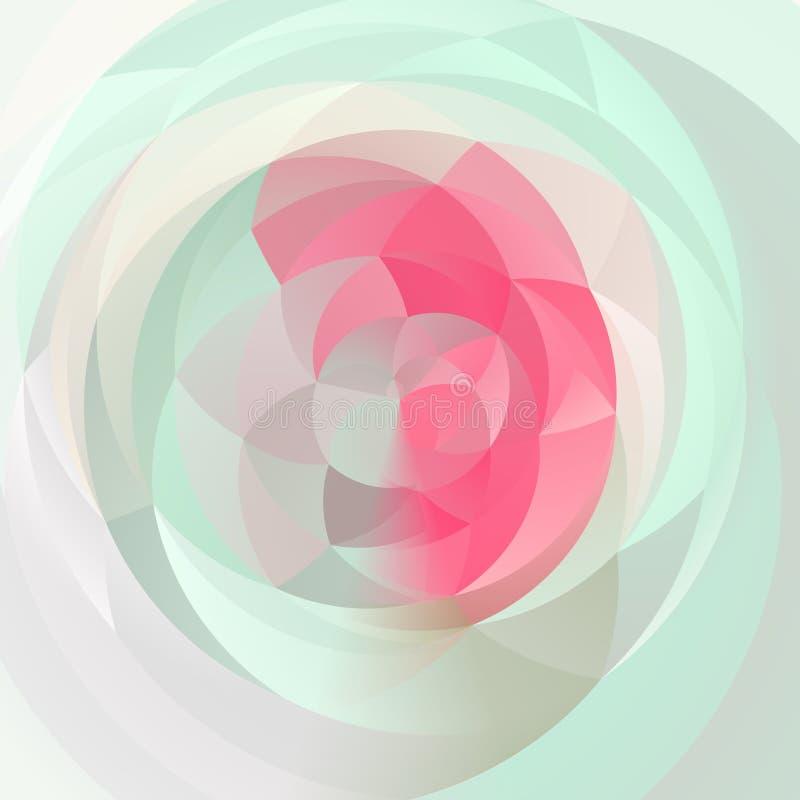 Fondo geométrico moderno abstracto del remolino - rosa en colores pastel, verde menta y gris claro coloreados ilustración del vector
