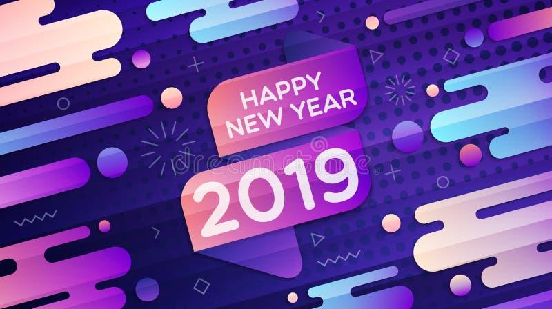 Fondo geométrico moderno de la pendiente de la Feliz Año Nuevo 2019 stock de ilustración