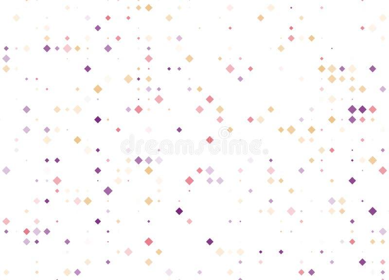 Fondo geométrico moderno del extracto del Rhombus del vector rojo claro, púrpura, amarillo Plantilla punteada de la textura Model ilustración del vector