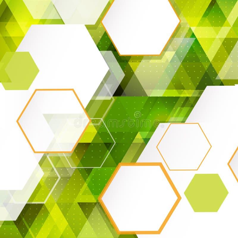 Fondo geométrico moderno del triángulo verde para la presentación del negocio o de la tecnología stock de ilustración