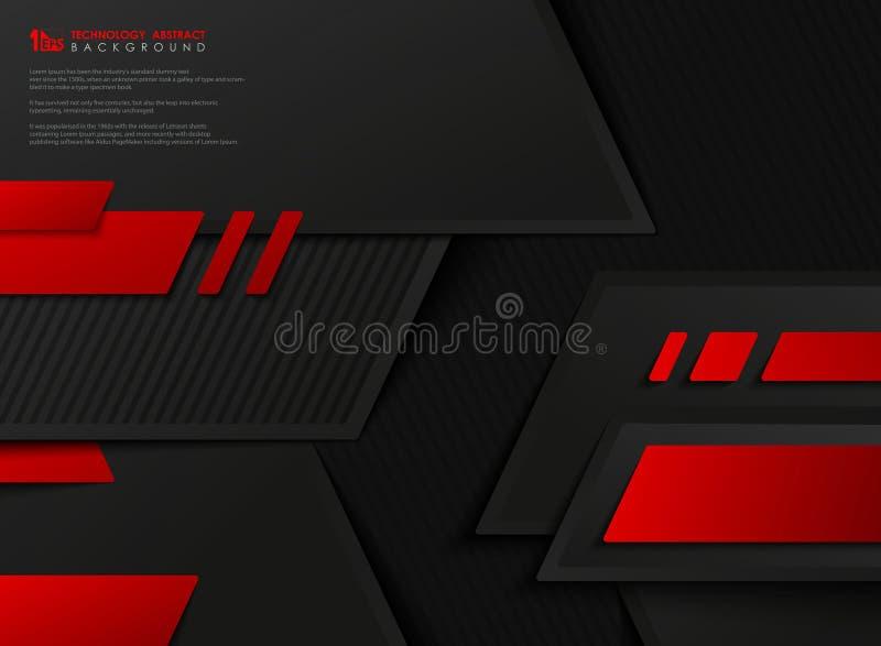 Fondo geom?trico negro rojo de la plantilla del vector de la pendiente abstracta de la tecnolog?a Vector eps10 del ejemplo stock de ilustración