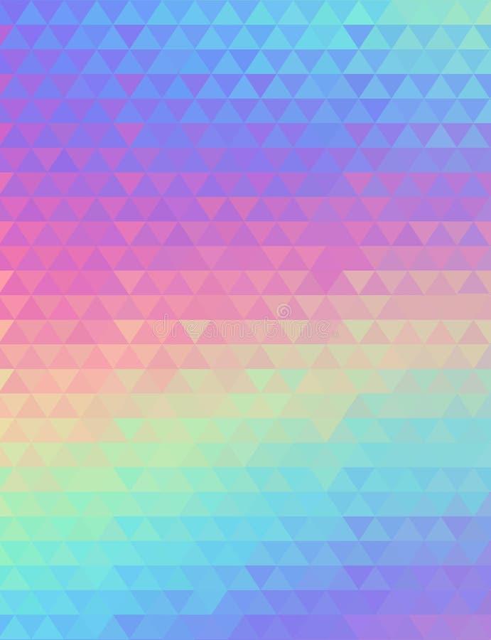 Fondo geométrico olográfico del vector diseño de la moda 80s y 90s Estilo vibrante del holograma, cartel del arte de la tendencia ilustración del vector