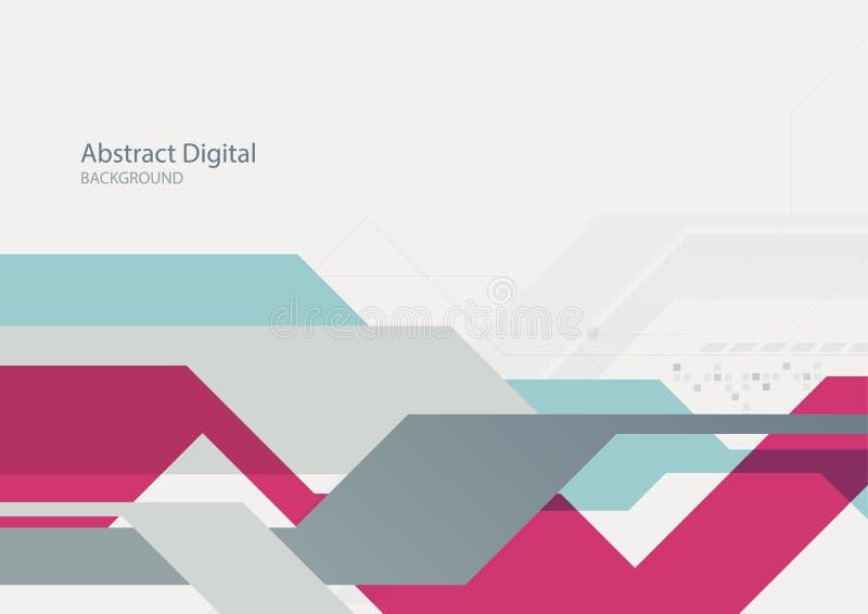 Fondo geométrico plano digital abstracto de la tecnología stock de ilustración