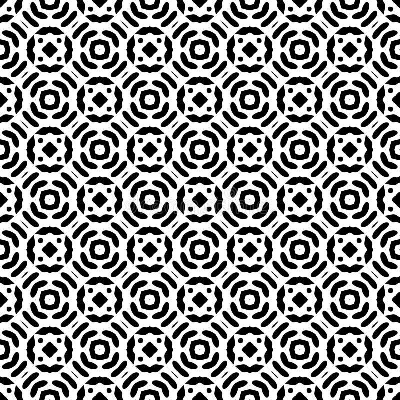 Fondo geométrico repetido inconsútil blanco y negro del modelo del arte stock de ilustración