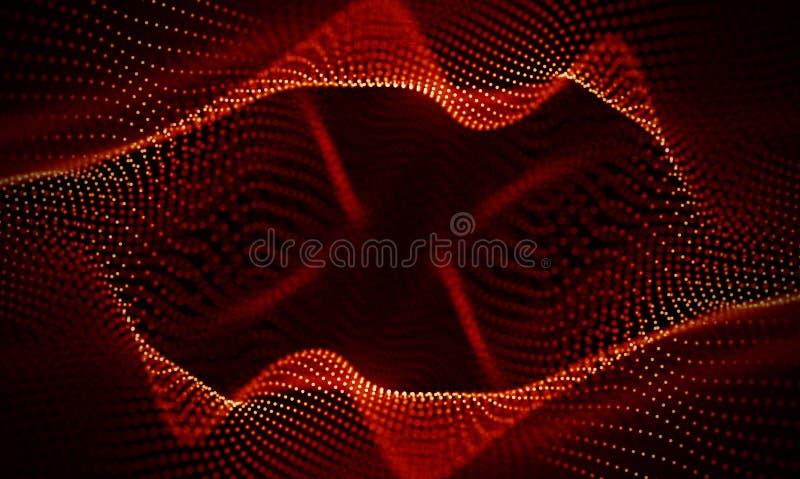 Fondo geométrico rojo abstracto Estructura de la conexión Fondo de la ciencia Tecnología futurista HUD Element foto de archivo