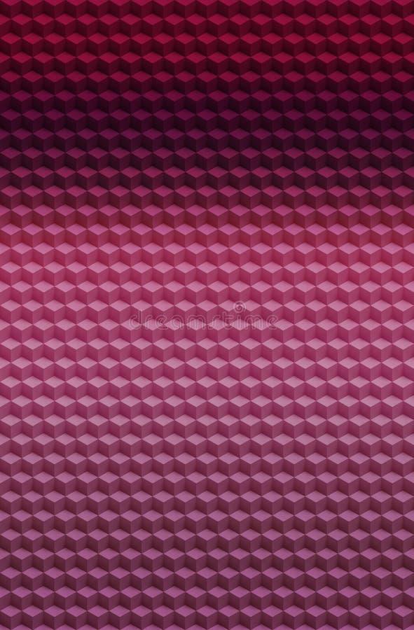 Fondo geométrico rosado púrpura del extracto del modelo 3D del cubo, bloque del ejemplo ilustración del vector