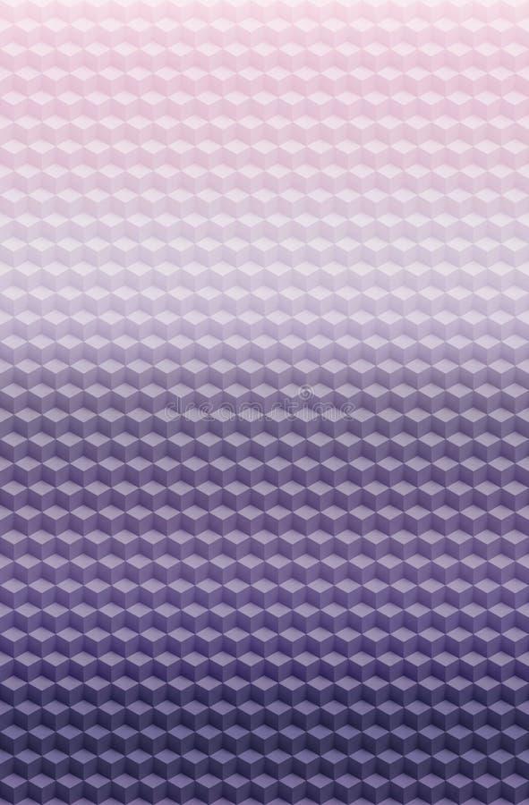 Fondo geométrico rosado púrpura del extracto del modelo 3D del cubo, decoración moderna stock de ilustración