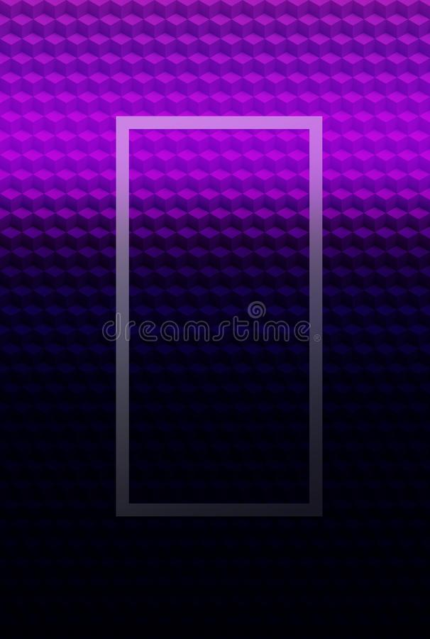 Fondo geométrico rosado púrpura del extracto del modelo 3D del cubo, ilusión del cartel stock de ilustración