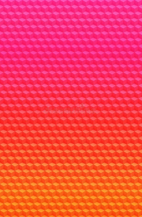 Fondo geométrico rosado púrpura del extracto del modelo 3D del cubo, ilusión stock de ilustración