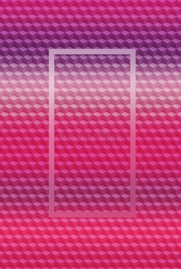 Fondo geométrico rosado púrpura del extracto del modelo 3D del cubo, papel pintado del ejemplo stock de ilustración
