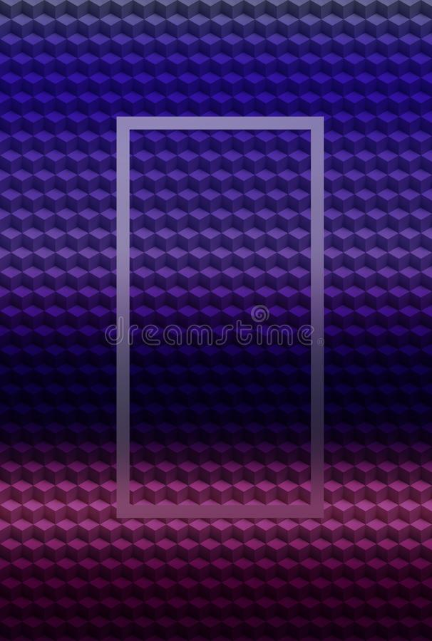 Fondo geométrico rosado púrpura del extracto del modelo 3D del cubo, plantilla moderna stock de ilustración