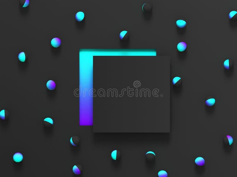 Fondo geométrico sombreado extracto 3d Diseño moderno negro del resplandor para el cartel, cubierta, bandera, tarjeta stock de ilustración