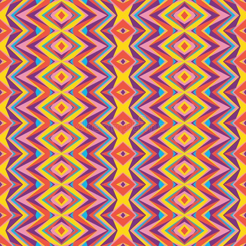 Fondo geométrico - vector el modelo inconsútil en amarillo, rosado, anaranjado, lila y colores azules modelo inconsútil geométric ilustración del vector