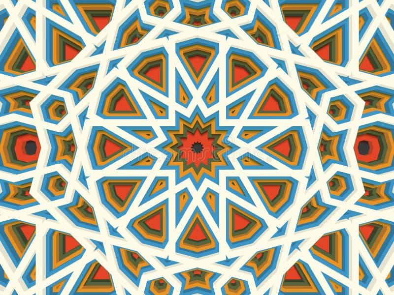 Fondo geométrico volumétrico abstracto del vector De acuerdo con los ornamentos étnicos islámicos 3d sacó los elementos del ornam stock de ilustración
