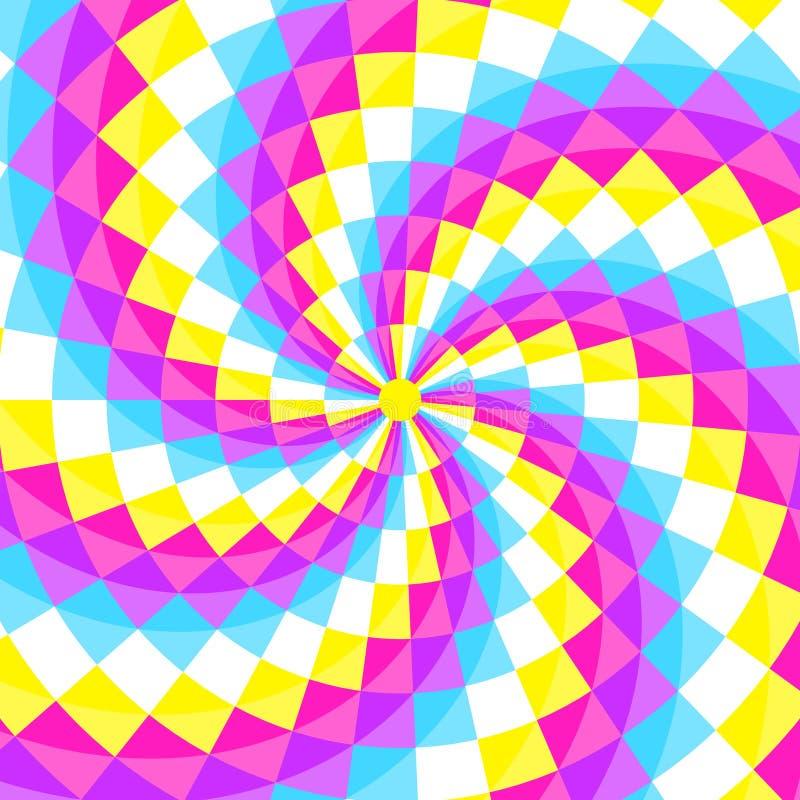 Fondo geometic astratto, modello festivo con differenti forme nella spirale Colori luminosi e vivi di 80s, stile al neon 90s illustrazione di stock
