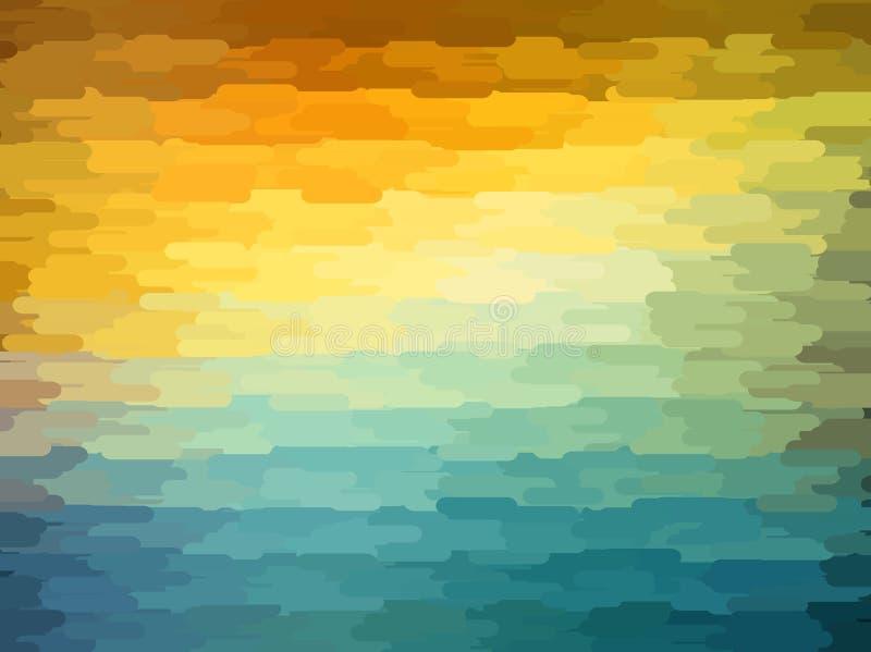 Fondo geometrico astratto con colore arancio, blu e giallo Progettazione soleggiata di estate royalty illustrazione gratis