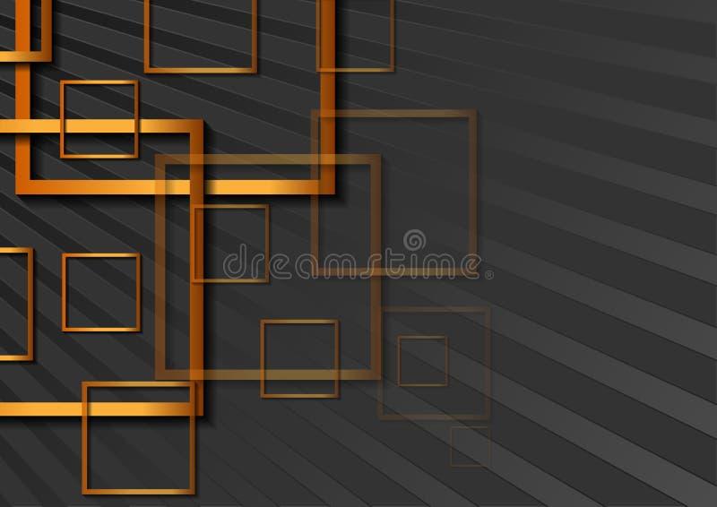 Fondo geometrico astratto con i quadrati bronzei illustrazione vettoriale