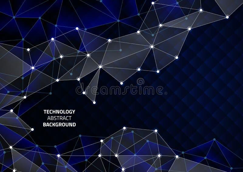 Fondo geometrico astratto con le linee ed i punti Modello sull'argomento di tecnologia moderna illustrazione vettoriale