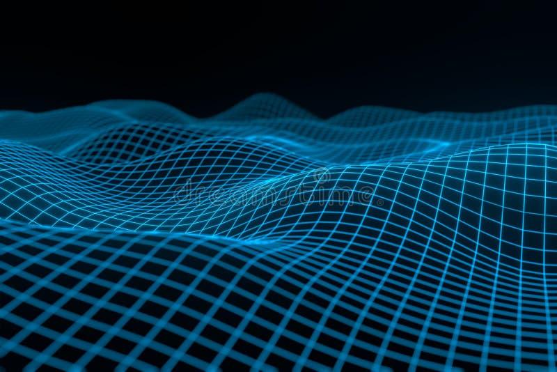 Fondo geometrico astratto con paesaggio digitale o le onde Rappresentazione dell'ologramma 3 D del wireframe di Montain illustrazione di stock