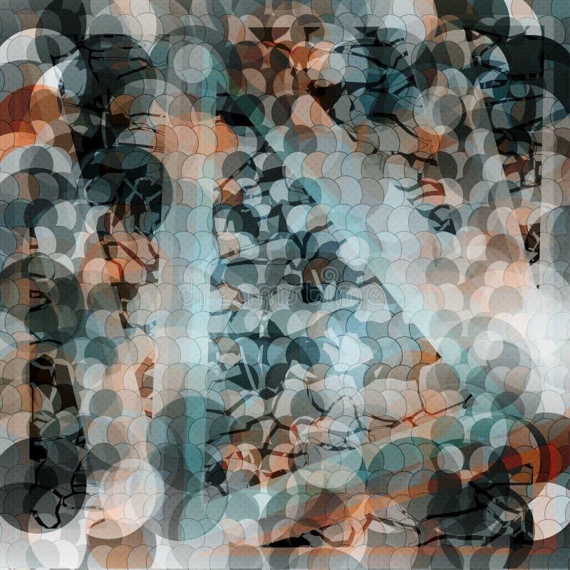 Fondo geometrico astratto delicato cerchi colorati e linee Effetto di lerciume Illustrazione di vettore illustrazione di stock
