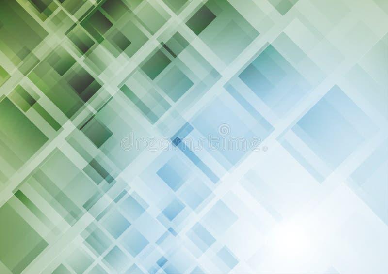 Fondo geometrico astratto di tecnologia con i quadrati illustrazione di stock