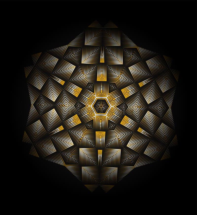 Fondo geometrico astratto dorato Stile di art deco illustrazione vettoriale