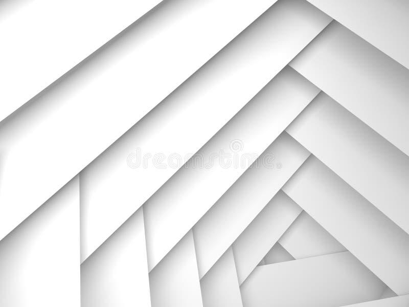 Fondo geometrico astratto, strati bianchi della struttura illustrazione di stock