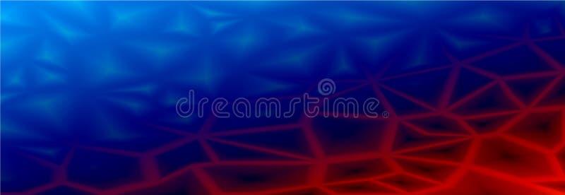 Fondo geometrico astratto variopinto con i poligoni poligonali triangolari Dal blu di ghiaccio a rosso fuoco Transizione regolare illustrazione vettoriale