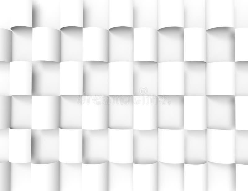 Fondo geometrico bianco di texture.3d illustrazione di stock