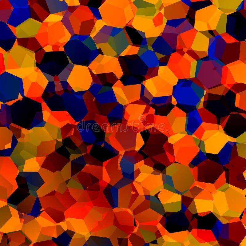 Fondo geometrico caotico variopinto astratto Art Red Blue Orange Pattern generativo Campione della tavolozza di colore Forme esag royalty illustrazione gratis