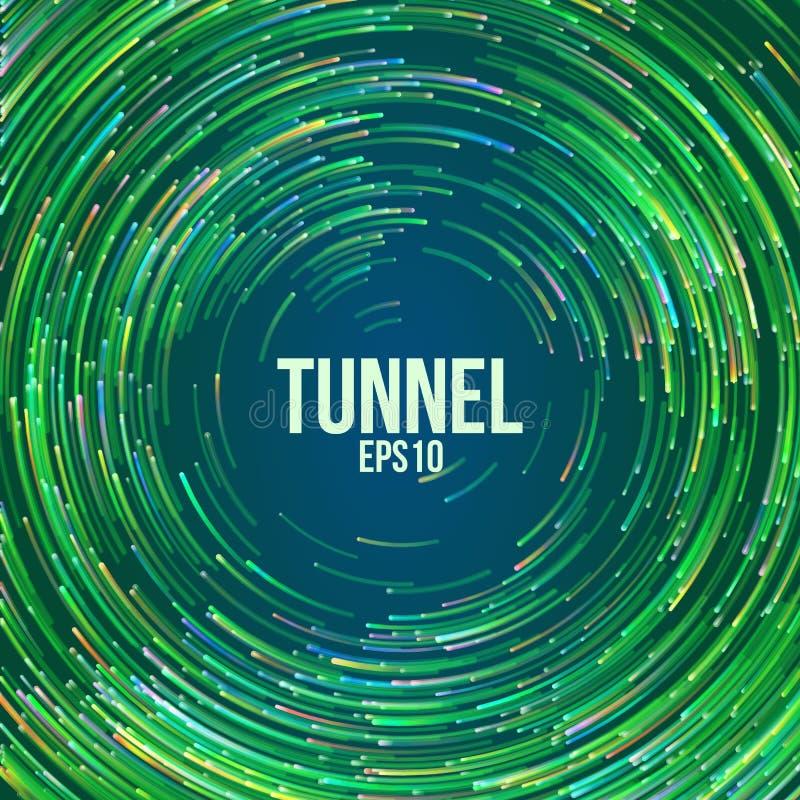Fondo geometrico circolare di vettore Linee variopinte rotonde del cerchio verde Traccia astratta di vortice Copertura piana del  illustrazione di stock