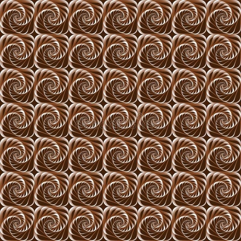 Fondo geometrico con colore senza cuciture del cioccolato di spirali royalty illustrazione gratis