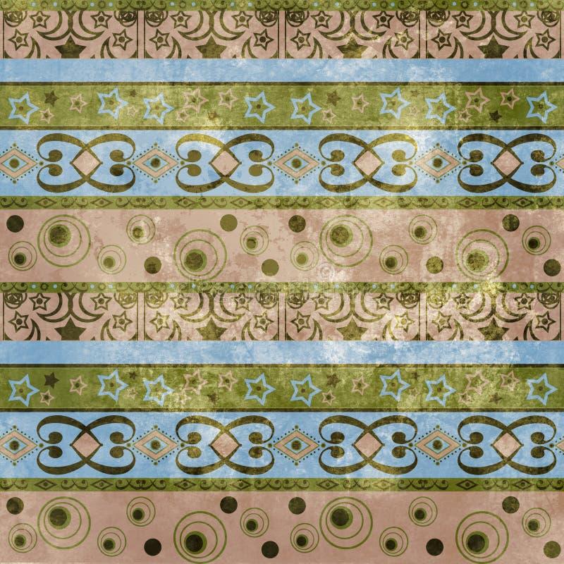 Fondo geometrico d'annata del modello del damasco di lerciume di arte royalty illustrazione gratis