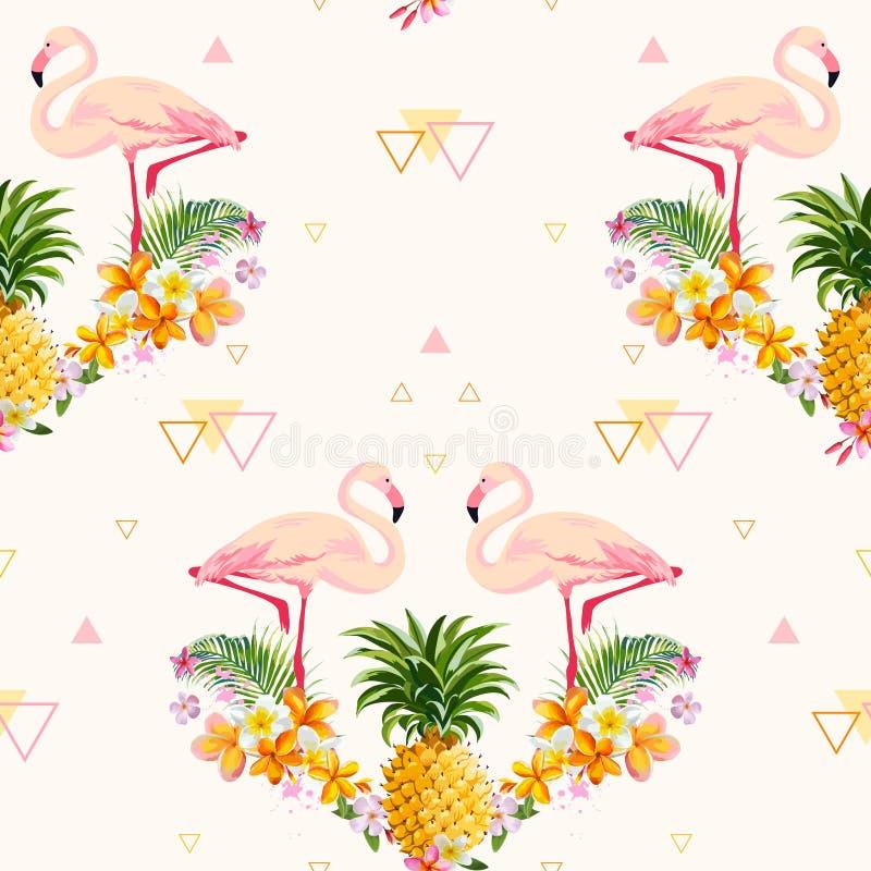Fondo geometrico del fenicottero e dell'ananas illustrazione vettoriale