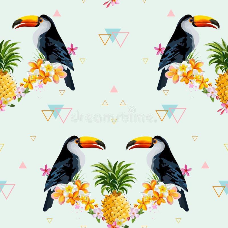 Fondo geometrico del tucano e dell'ananas Uccello tropicale illustrazione vettoriale