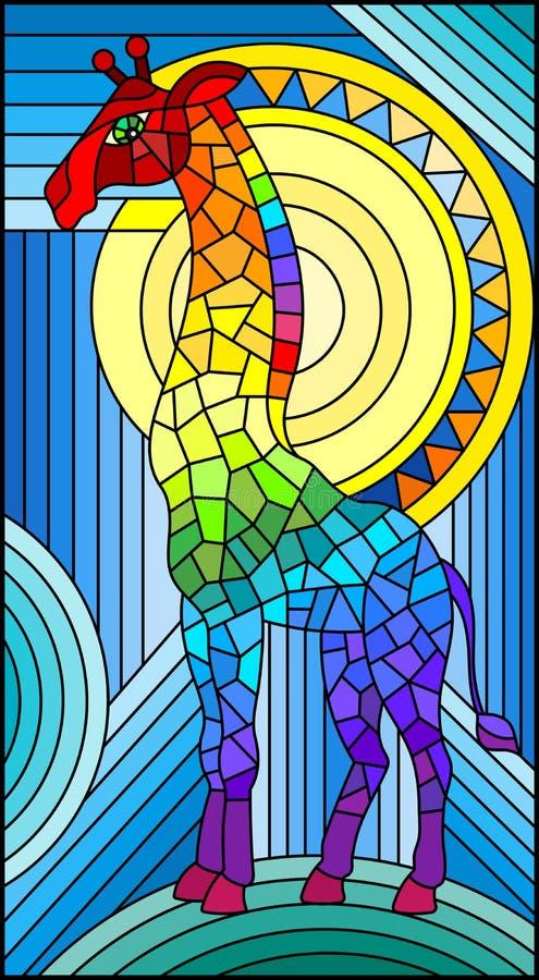 Fondo geometrico dell'arcobaleno dell'estratto della giraffa dell'illustrazione del vetro macchiato con il sole illustrazione di stock
