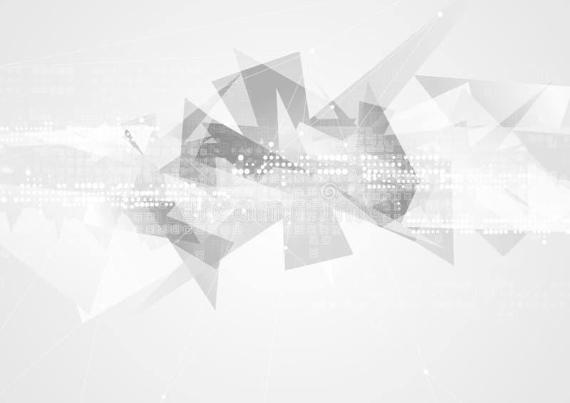 Fondo geometrico dell'estratto del poligono di tecnologia grigia illustrazione di stock