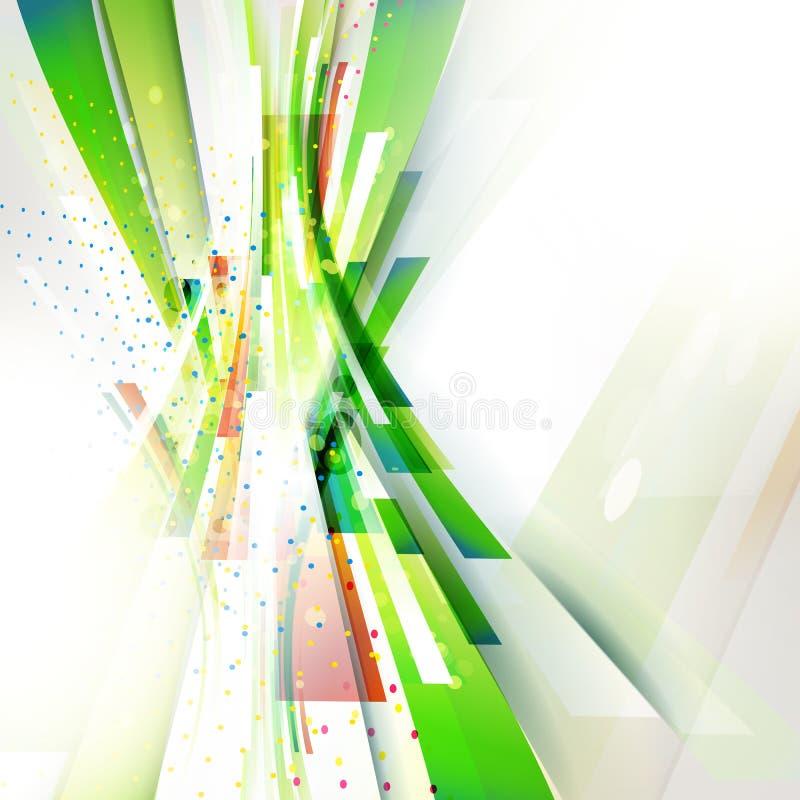 Fondo geometrico dell'onda verticale astratta verde per la presentazione di tecnologia illustrazione di stock