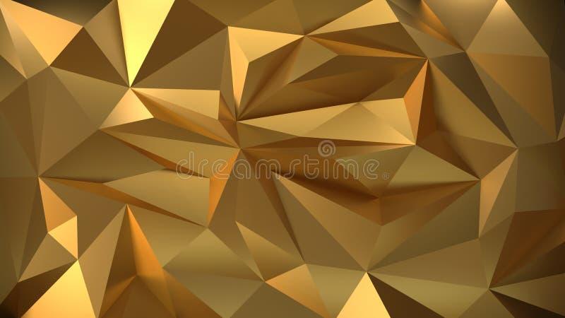 Fondo geometrico dell'oro 3d illustrazione di stock