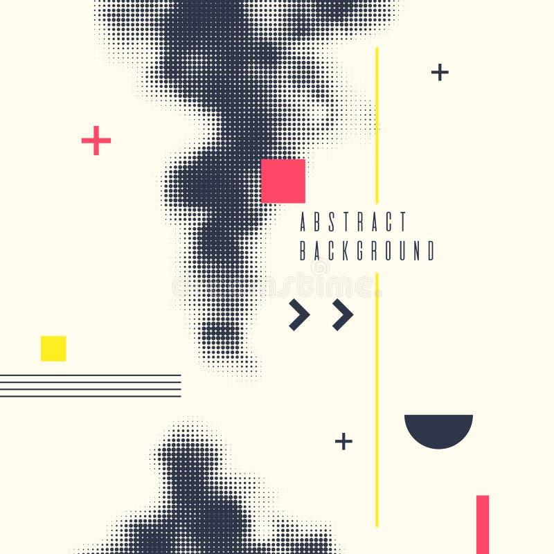 Fondo geometrico di astrattismo moderno con il piano Manifesto di vettore con l'elemento di semitono royalty illustrazione gratis