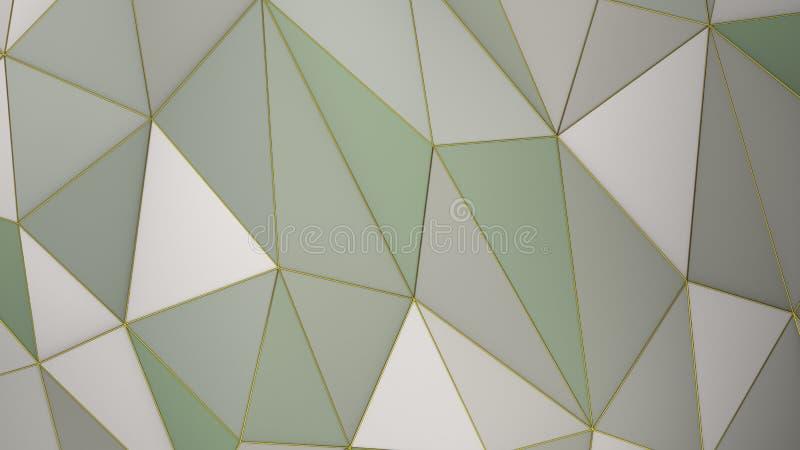 Fondo geometrico di colore verde delle tonalit? della tavolozza dell'estratto multicolore del plesso con i triangoli, 3d rendere illustrazione di stock