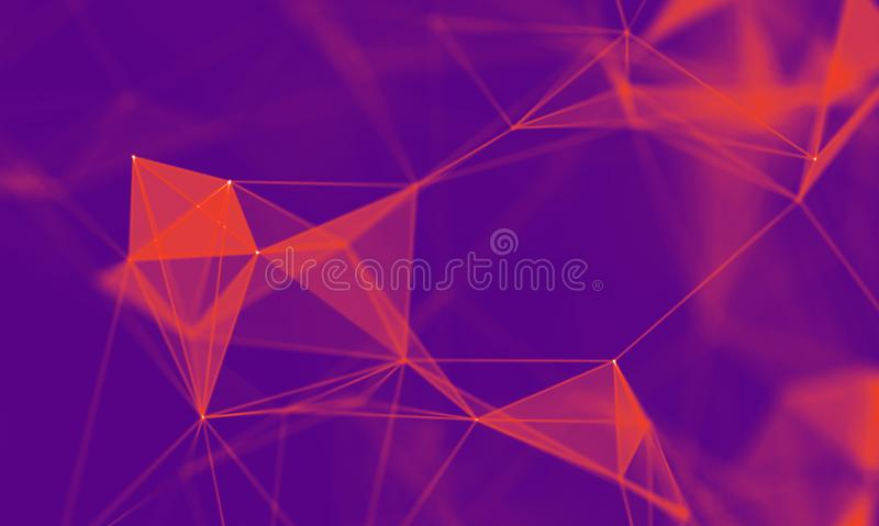 Fondo geometrico porpora dell'estratto Struttura del collegamento Priorità bassa di scienza Tecnologia futuristica HUD Element illustrazione vettoriale