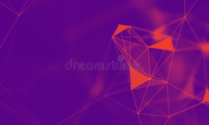 Fondo geometrico porpora dell'estratto Struttura del collegamento Priorità bassa di scienza Tecnologia futuristica HUD Element royalty illustrazione gratis