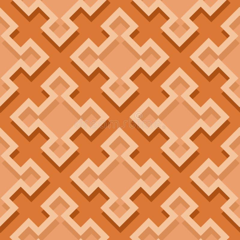 Fondo geometrico senza cuciture con gli elementi quadrati Modello arancio 3d illustrazione vettoriale
