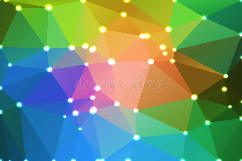 Fondo geometrico verde blu rosa con le luci illustrazione vettoriale